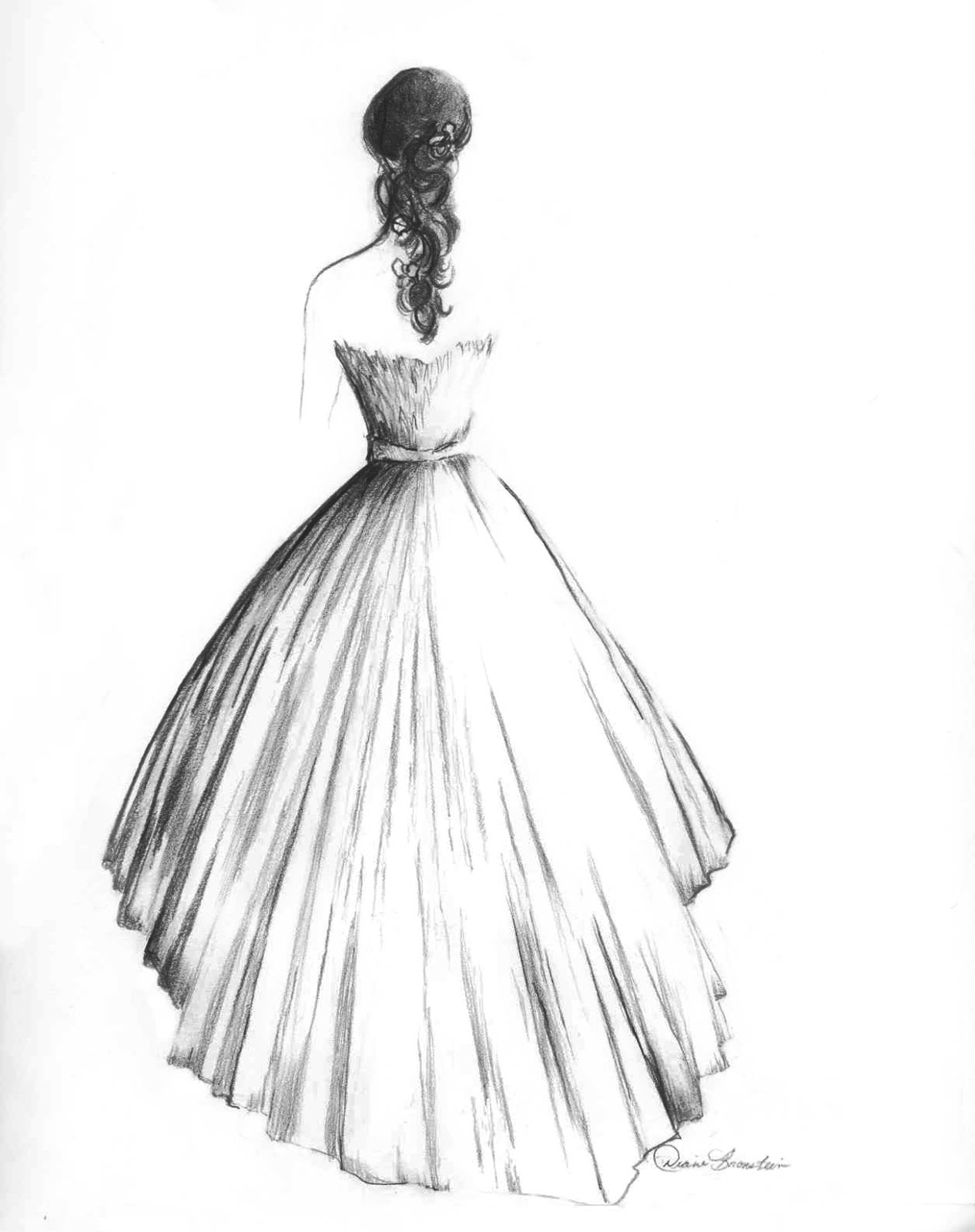 Wedding dress paintings by diane bronstein knotsvilla for How to draw a wedding dress