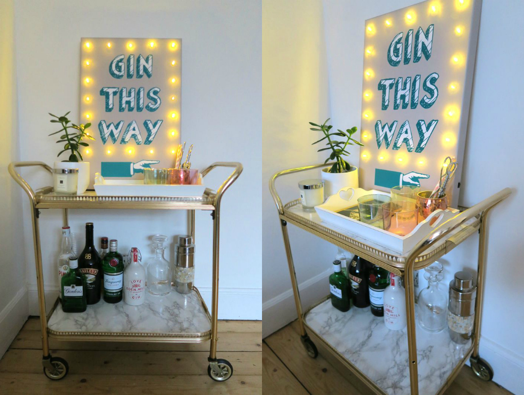 upcycled marble contact paper bar cart