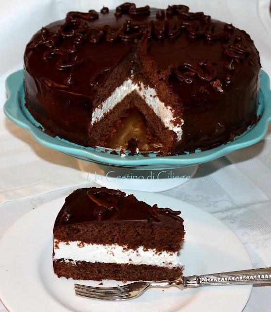 Un cestino di ciliege: Torta al Cioccolato con Crema al