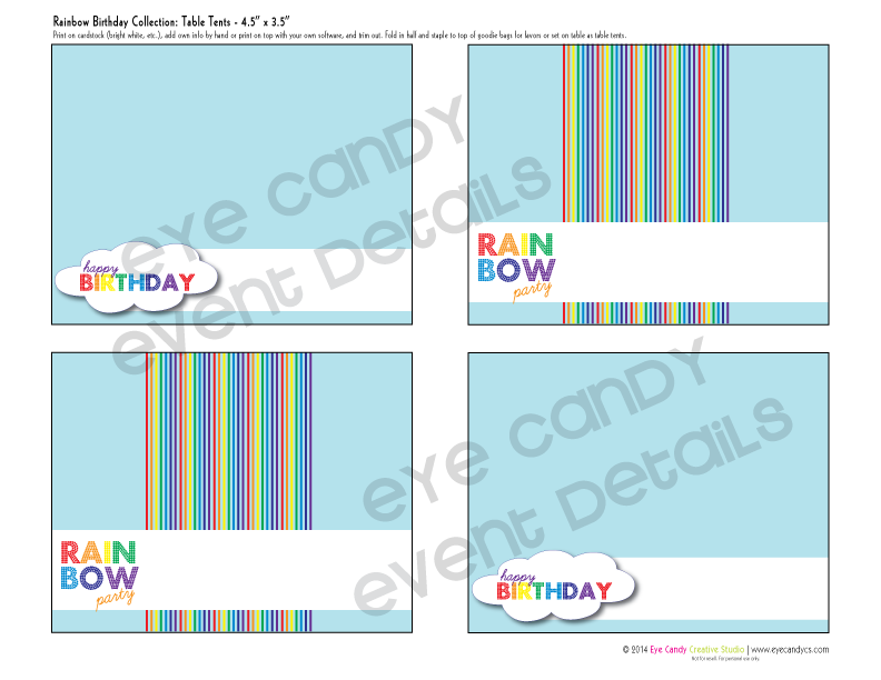 rainbow party, rainbow birthday party table tents, birthday table labels