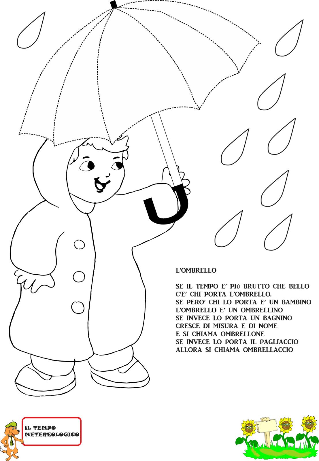 A scuola con poldo schede sulla pioggia for Schede didattiche scuola infanzia 3 anni