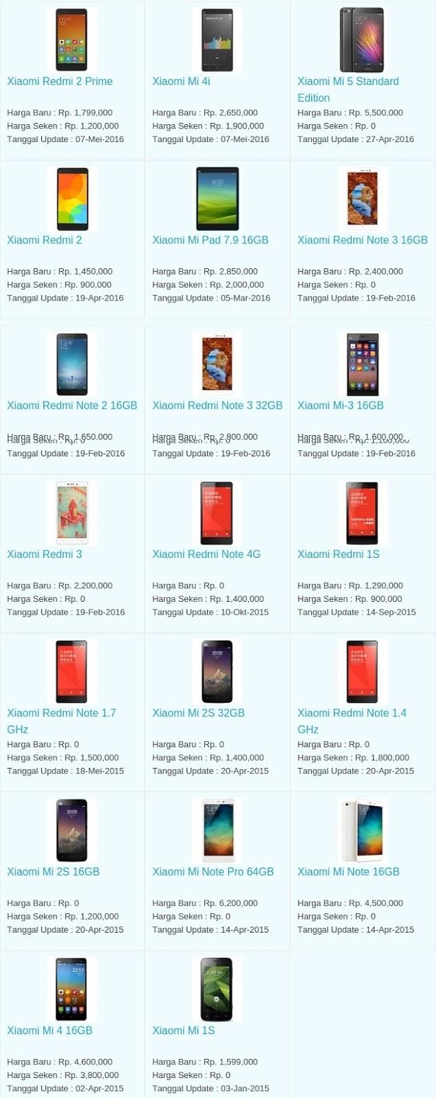 Daftar Harga Hp Terbaru Xiaomi Juni 2016