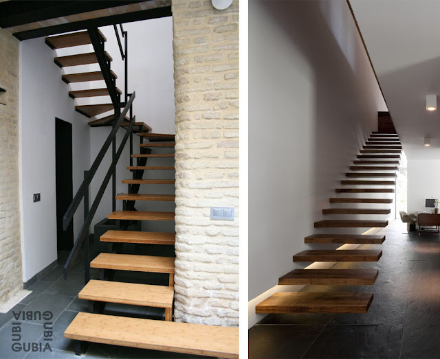 Escaleras de madera a medida espacios en madera - Escaleras con peldanos de madera ...