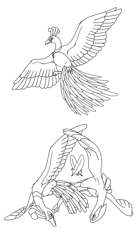 kitsune coloring pages - desenhos do pokemon ho oh para colorir