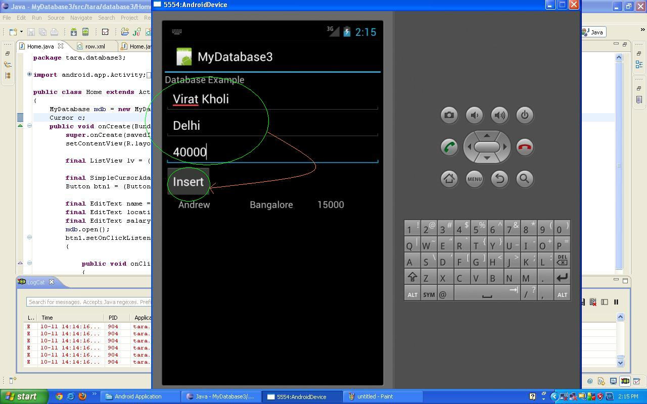 contour android app how to delete a entry