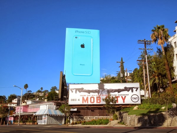 Giant blue iPhone 5c billboard