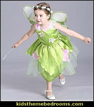 Princess Girl Flower Fairy Green Princess Dress Up Party Costume