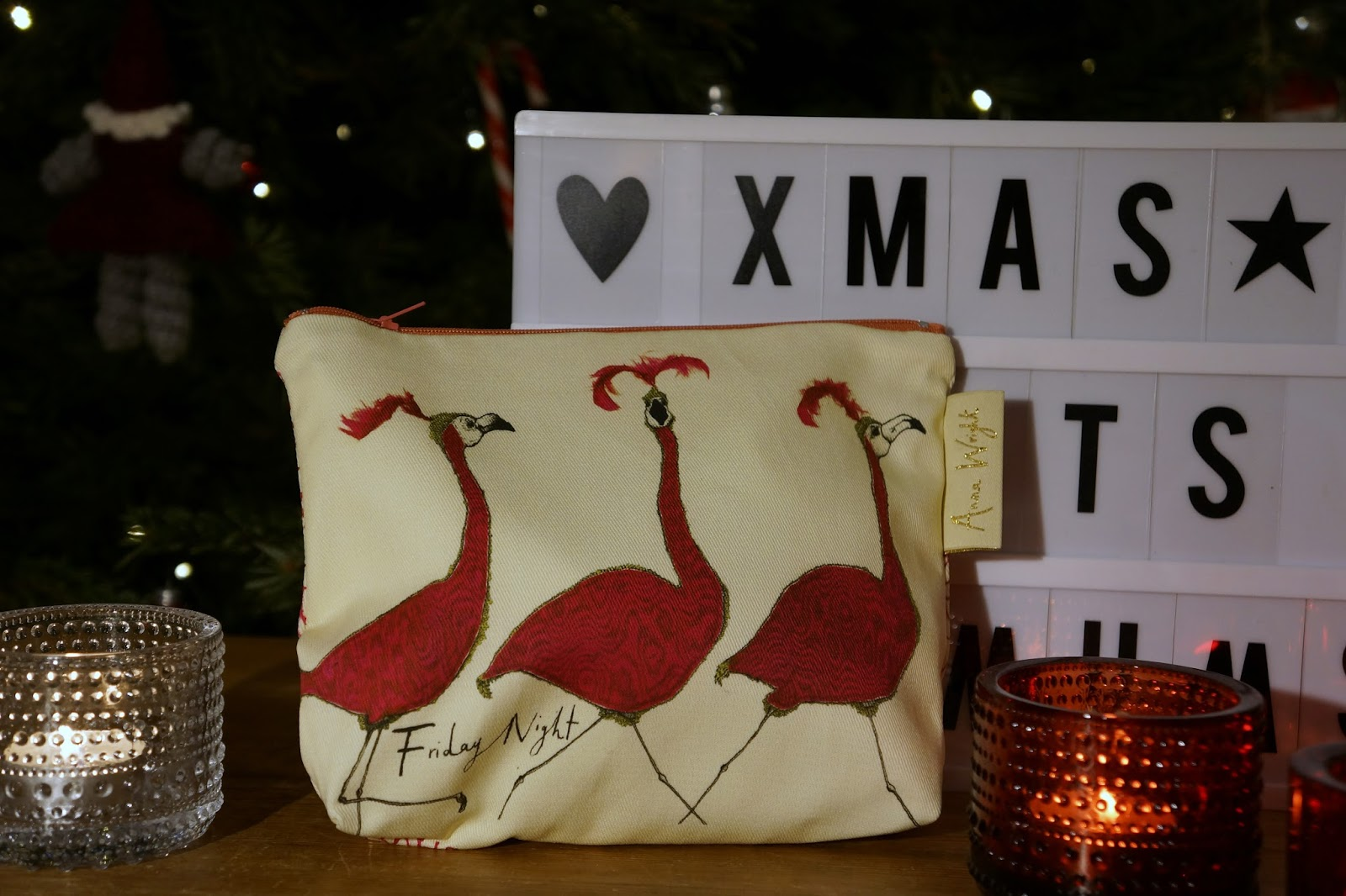 anna wright make-up bag with pink flamingos