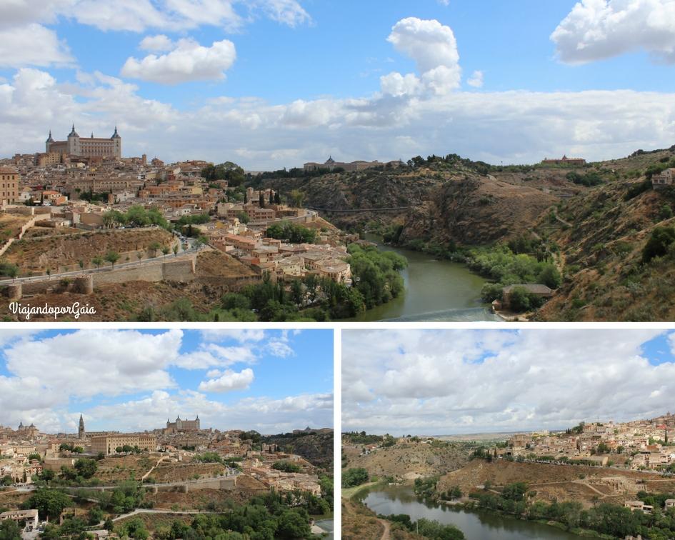 Panorámicas desde el mirador El Valle. Desde este punto se observa  la Catedral de Santa María, el Alcázar, la cúpula, fachada y torres de los Jesuitas, además de la judería y el río Tajo que rodea el casco antiguo de Toledo.