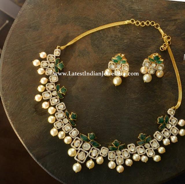 Modish Rosecut Diamond Necklace