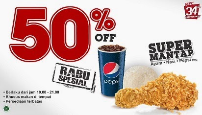 Paket KFC Rabu Spesial Diskon 50% dan Promo Paket Lain