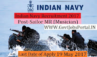 Indian Navy Recruitment 2017– Sailor MR (Musician)