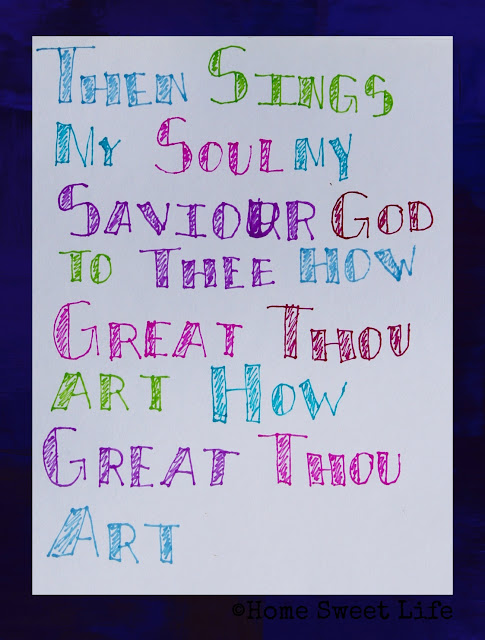 hand lettered songs, How great Thou art