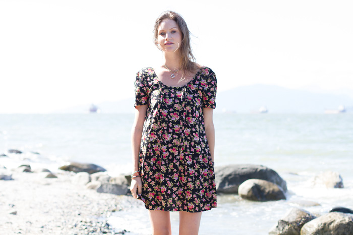 Vancouver Fashion Blogger, Alison Hutchinson, is wearing a bohemian floral dress from Urban Outfitters