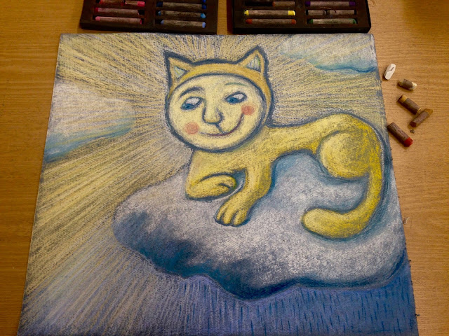 #AideLL #Aide #Leit-Lepmets #yellowcat #cat #sunshinecat #cloud #illustration #art