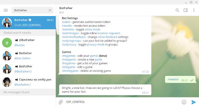 Kontrol ESP 01 menggunakan Telegram