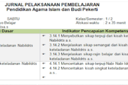 Download Jurnal PAI Kelas 1 Semester 2 K13 Revisi 2018