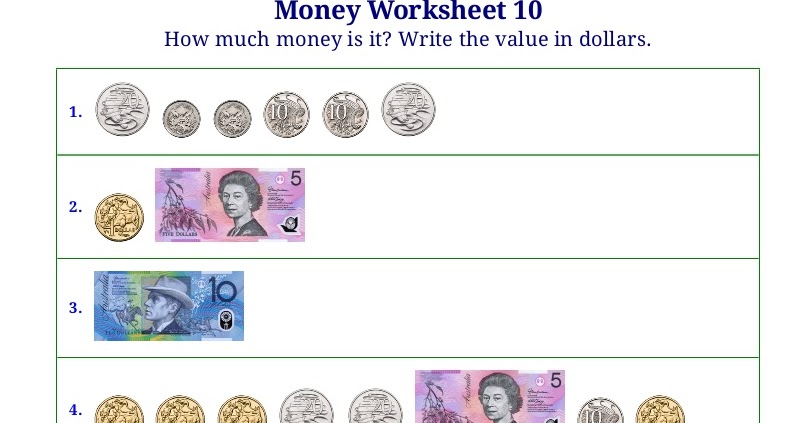 Worksheets For Counting Coins Bills