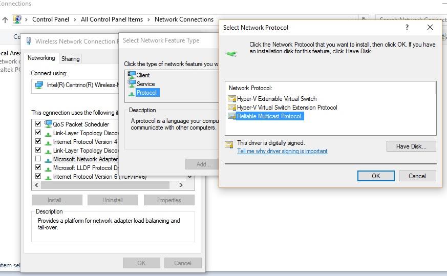 network protocols missing windows 10