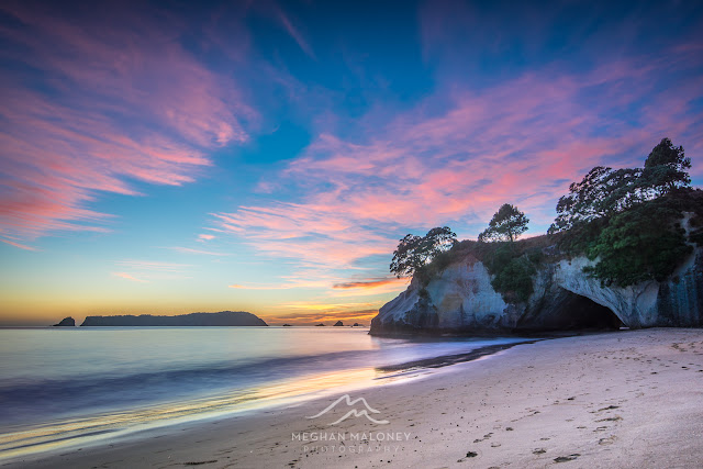 cathedral cove pastel sunrise