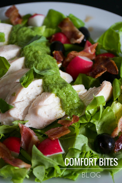 chicken bacon basil salad - aip pegan lchf lowcarb paleo dairyfree nutfree