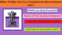 Bihar Public Service Commission Recruitment 2017– Assistant Engineer