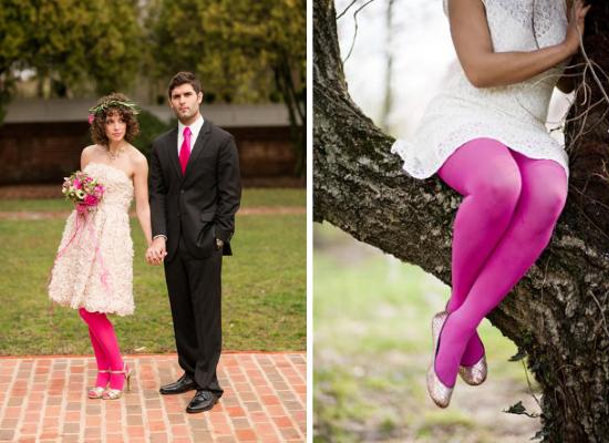Collant da sposa rosa, pink bridal tights
