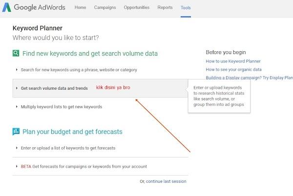 Cara Riset Keyword Menggunakan Google Planner