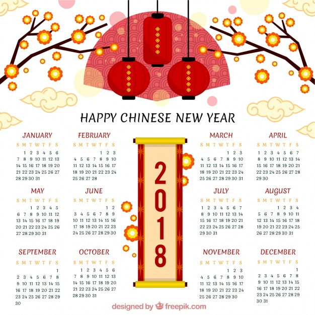 Creative chinese new year calendar 2018 Free Vector ~ vectorkh