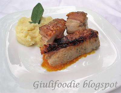 maialino, arrosto in forno, mostarda, purè, sedano rapa