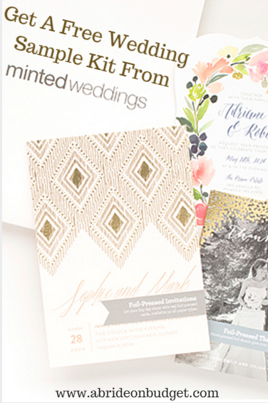 Planning your wedding? Deciding on wedding stationery? You can get a FREE wedding sample kit from Minted Weddings. Find out how at www.abrideonabudget.com.