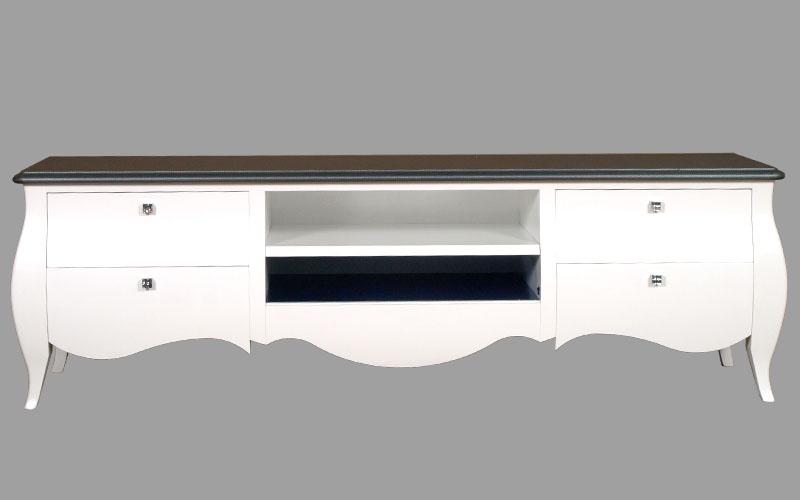 Mobile porta tv bombato laccato bianco illuminazione led e carbonio myartistic - Mobile porta tv bianco ikea ...