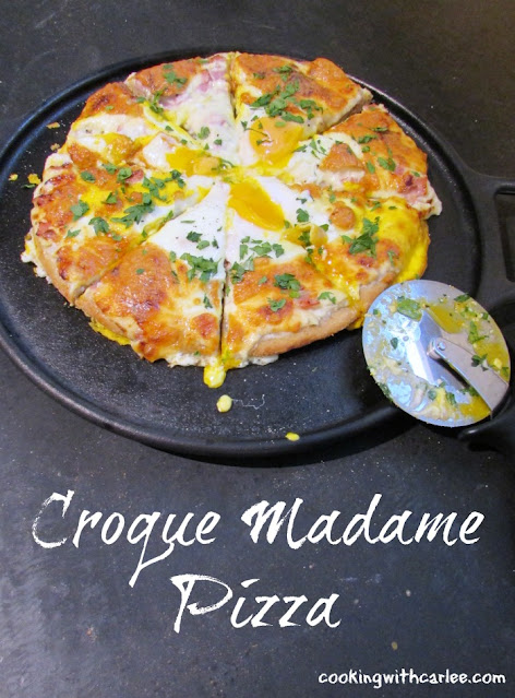 The flavors of the classic French sandwich make an excellent pizza. Croque madame has never been so fun to eat!