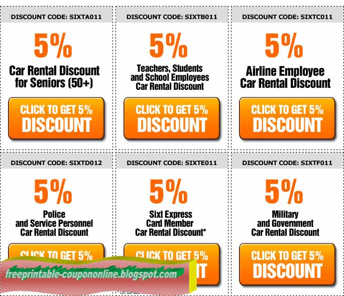 Coupons For Car Rentals: Printable Coupons 2018: Discount Coupons