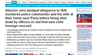 http://www.dailymail.co.uk/news/article-3639878/Policeman-stabbed-death-outside-Paris-home-attacker-holding-officer-s-wife-son-hostage.html