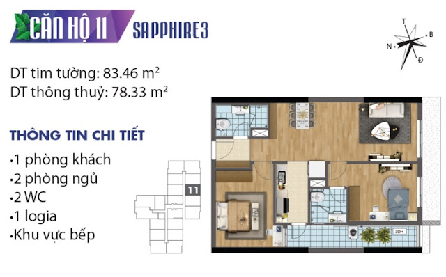 Thiết kế căn hộ số 11 tòa Sapphire 3