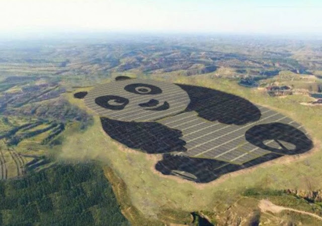 Here Is A Massive Chinese Solar Plant Looking Like Giant Cartoon Panda