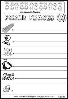 Formar frases com desenhos, letra W