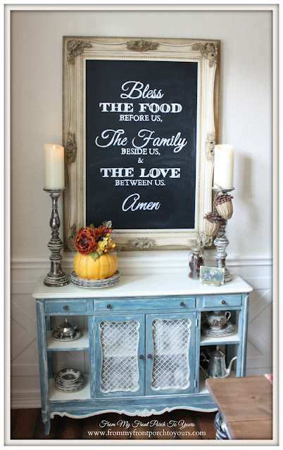 Chalkboard-Blessings-Farmhouse -Thanksgiving- Fall- Dining Room-From My Front Porch To Yours