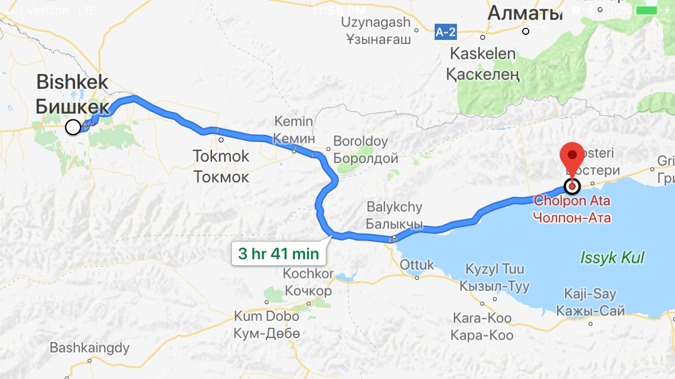 although google map shows travel between cholton ata to bishkek is about 4 hours away the drive is actually closer to 6 hours due to the road conditions