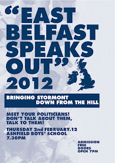 East Belfast Speaks Out, February 2012 poster