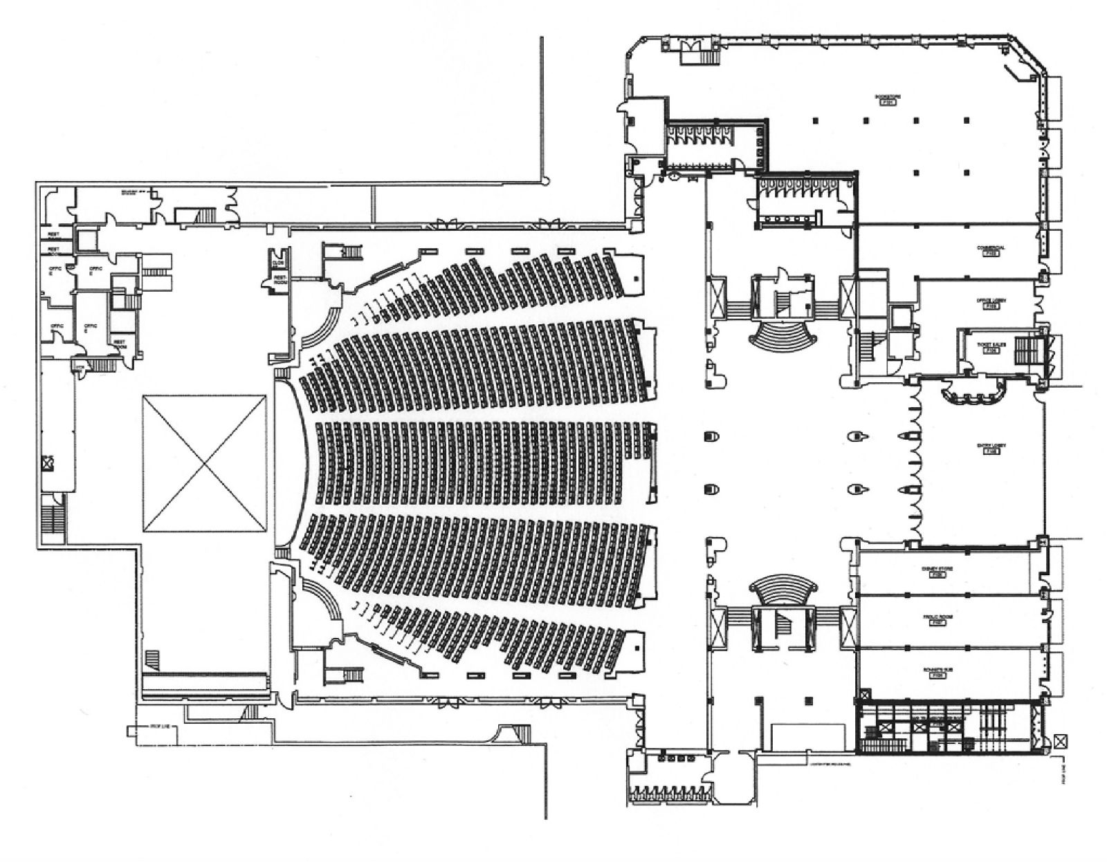 The main floor plan of the Pantages Thanks to Mike Hume for the copy of this plan and the ones below all featured in the Pantages Theatre section of his