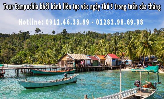 Tour Campuchia khởi hành liên tục vào ngày thứ 5 trong tuần của tháng 5