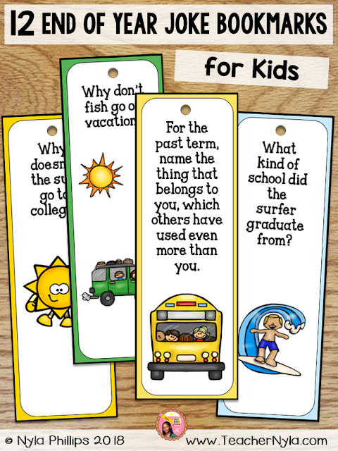End of Year Joke Bookmarks for Kids
