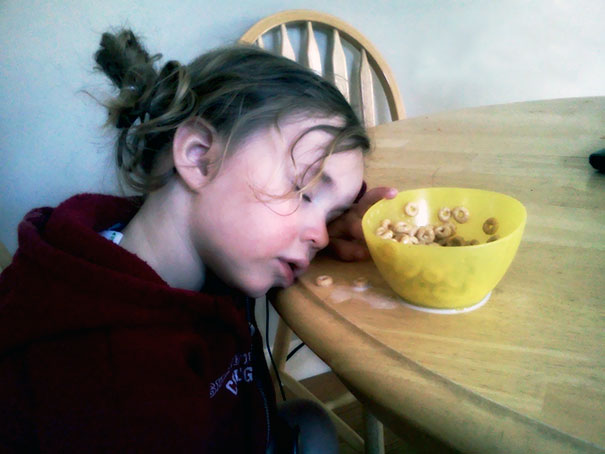 15+ Hilarious Pics That Prove Kids Can Sleep Anywhere - Napping With Cheerios