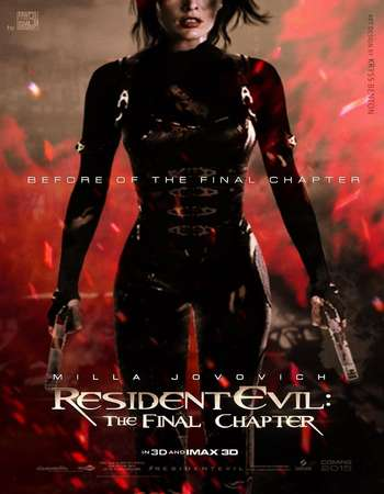 Poster Of Resident Evil The Final Chapter 2017 English 700MB HDTS  Free Download Watch Online world4ufree.org