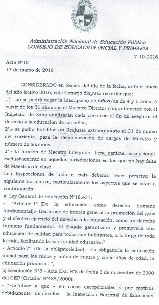 Tendiendo puentes normativa inscripciones for Inscripciones jardin 2016 uruguay