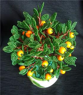 фото дерева апельсин из бисера
