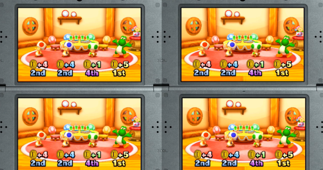 Mario Party Star Rush Yoshi cookie eating plates minigame results screen