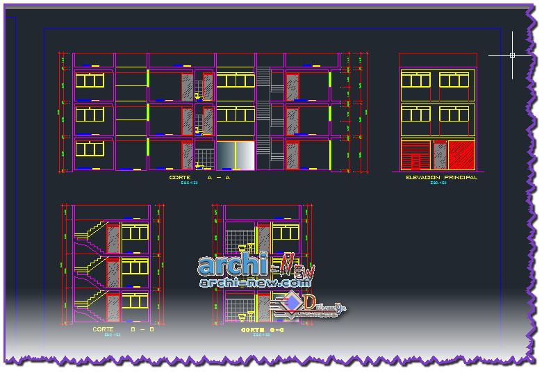 Download autocad cad dwg file family house project proj for House cad file